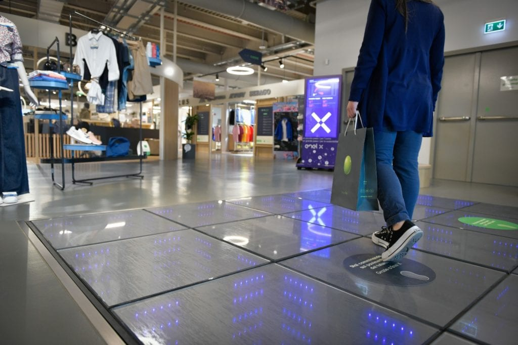 Energy floor at green pea shopping mall turin